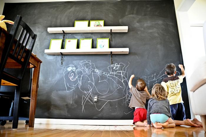 tableau-craie-mural-cadre-decoration-chevalet-ardoise-grand-tableau-noir-enfants-jouer