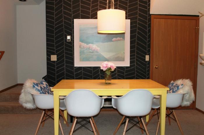 tableau-mural-ardoise-magnétique-peinture-tableau-craie-décoration-chaise-salle-à-manger