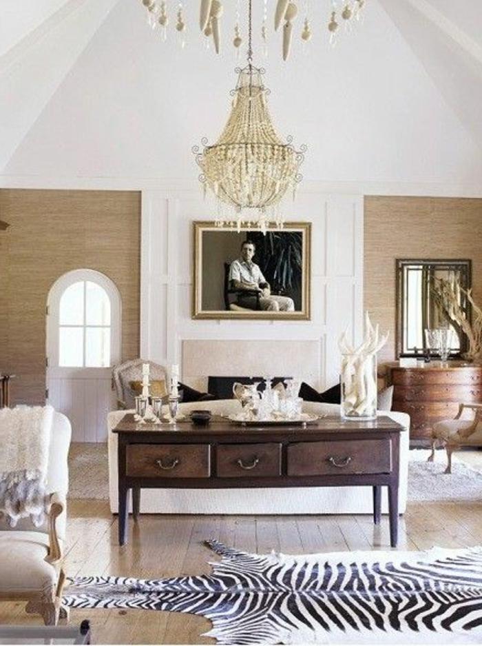 tapis-160-230-deco-lustre-baroque-tapis-à-rayures-blanches-noirs-plafond-sous-pente