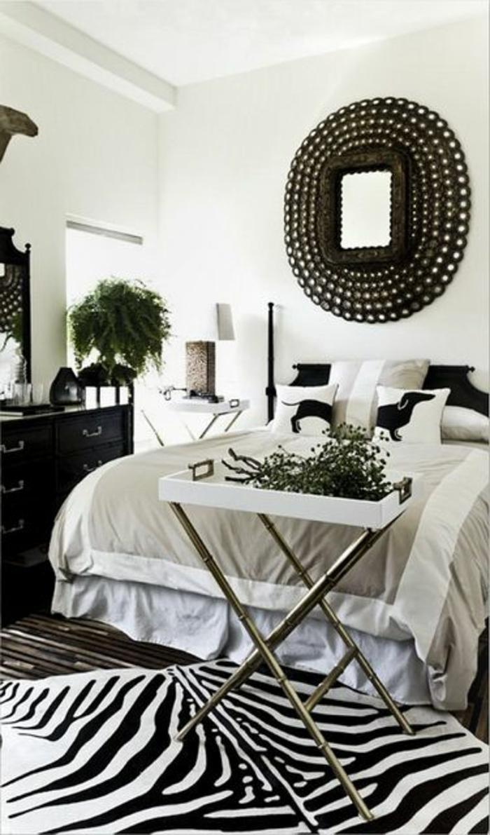 tapis-160-230-deco-zebre-lit-dans-la-chambre-à-coucher-plante-verte-meubles-dans-la-chambre-à-coucher