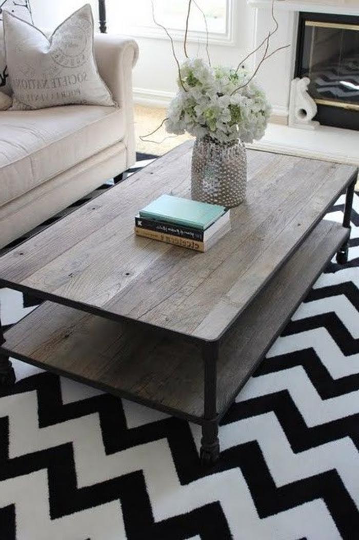 Le tapis de salon dans quelques mots et beaucoup de photos - Tapis pour salon noir et blanc ...