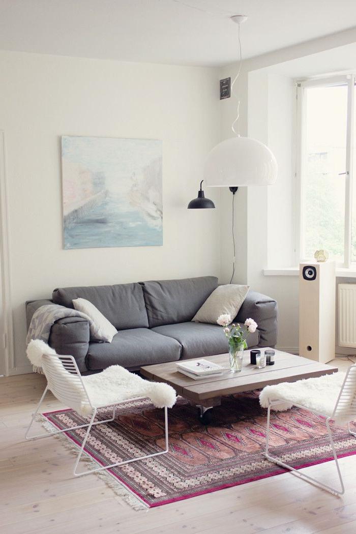 tapis-st-maclou-pour-le-salon-avec-canapé-gris-et-lampe-de-salon-blanche-murs-blancs