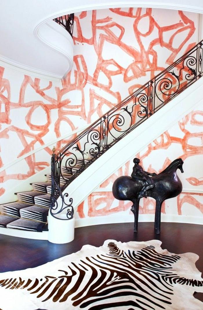 tapis-zebre-à-rayures-blanc-noir-intérieur-moderne-escalier-avec-chemin-d-escalier-zebre