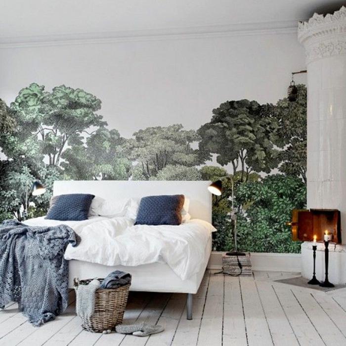 tapisserie-trompe-l-oeil-dans-le-salon-stickers-muraux-sol-en-planchers-blancs-dans-la-chambre-à-coucher