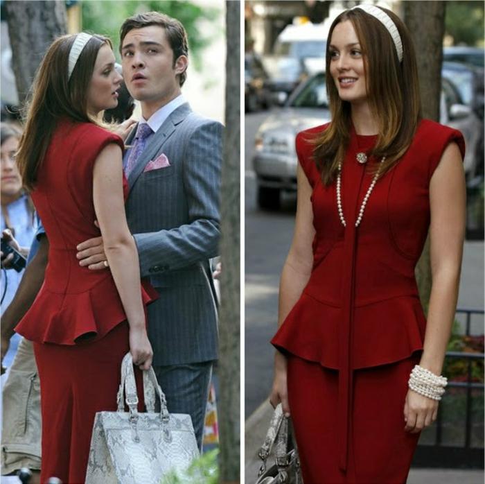 tenue-de-jour-élégante-femme-chique-robe-belle-blair-rouge-resized