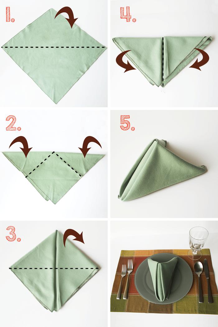 pliage de serviette chic et facile a faire soi meme dans serviette de tissu vert pale, idee deco table originale