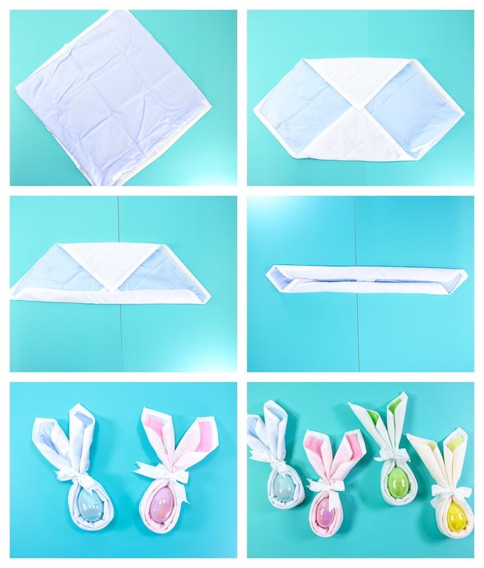 comment réaliser un pliage serviette lapin de paques avec des serviettes de tissu de couleurs differentes et oeufs de paques en plastique