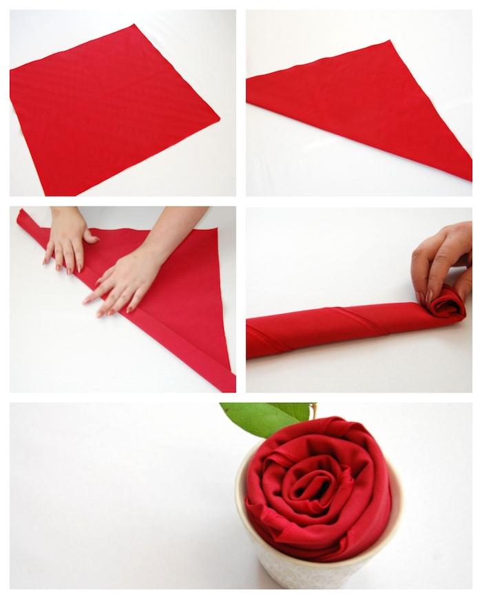 tuto pliage serviette fleur, comment faire une rose à partir de serviette de tissu rouge dans tasse à thé
