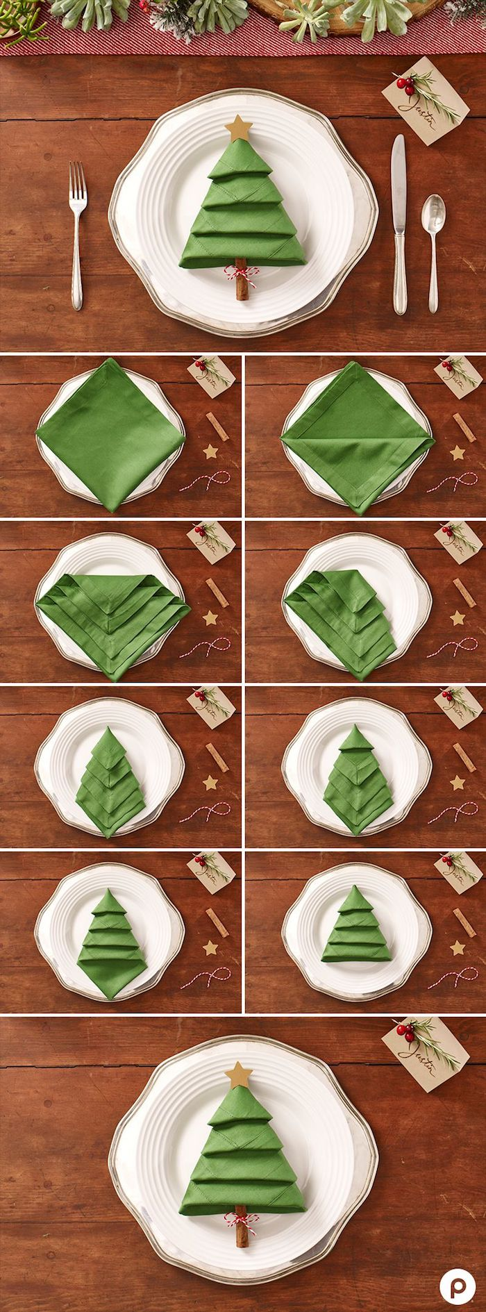 exemple d eplaige de serviette noel simple en forme de sapin de noel vert avec ronc d arbre en baton de cannelle
