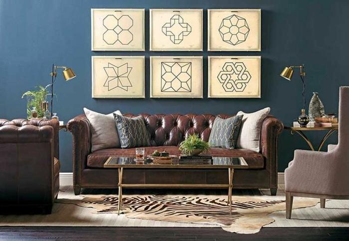 un-joli-salon-avec-fauteuil-club-ikea-en-cuir-marron-et-canapé-club-pas-cher