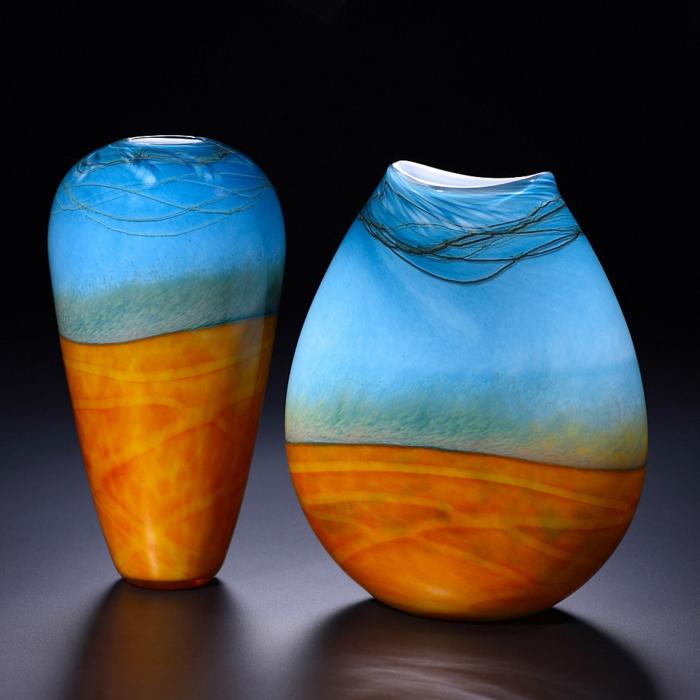 vase-ikea-baquet-vase-cylindrique-vase-en-verre-transparent-aigue-marine-et-ocre