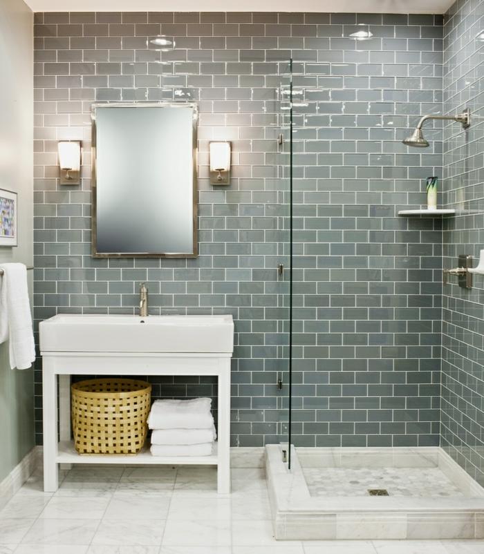 D corer la salle de bains avec un vier c ramique for Carrelage vert d eau