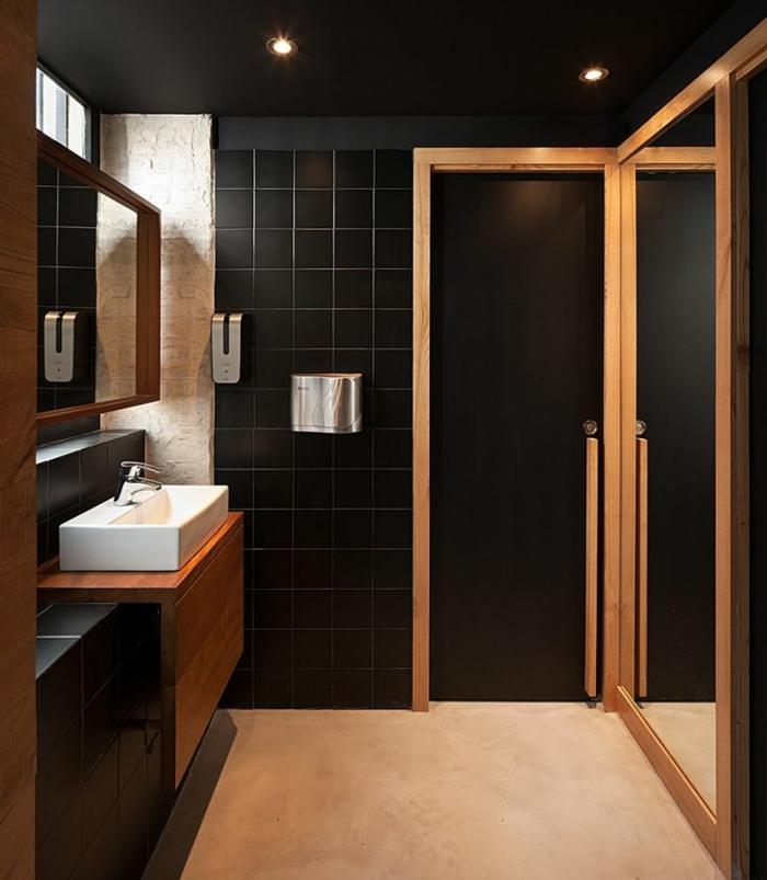 D corer la salle de bains avec un vier c ramique - Salle de bain noir et bois ...