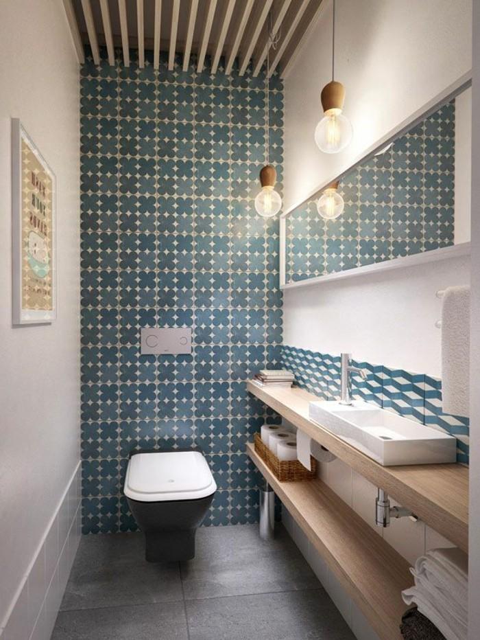 D corer la salle de bains avec un vier c ramique - Carrelage mural bleu salle de bain ...