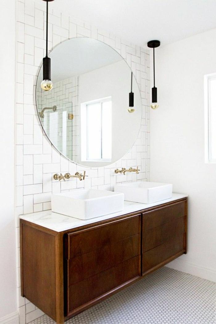 évier-céramique-double-vasque-rectangulaire-meuble-sous-évier-bois-lampes-pendantes