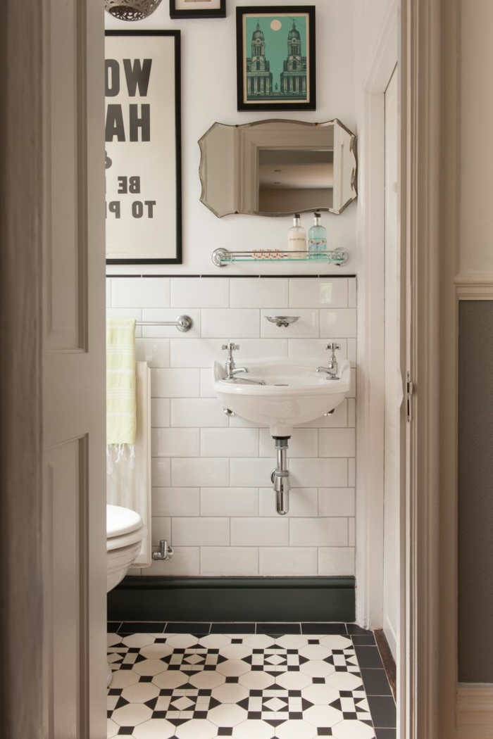 D corer la salle de bains avec un vier c ramique for Salle de bain carreaux metro