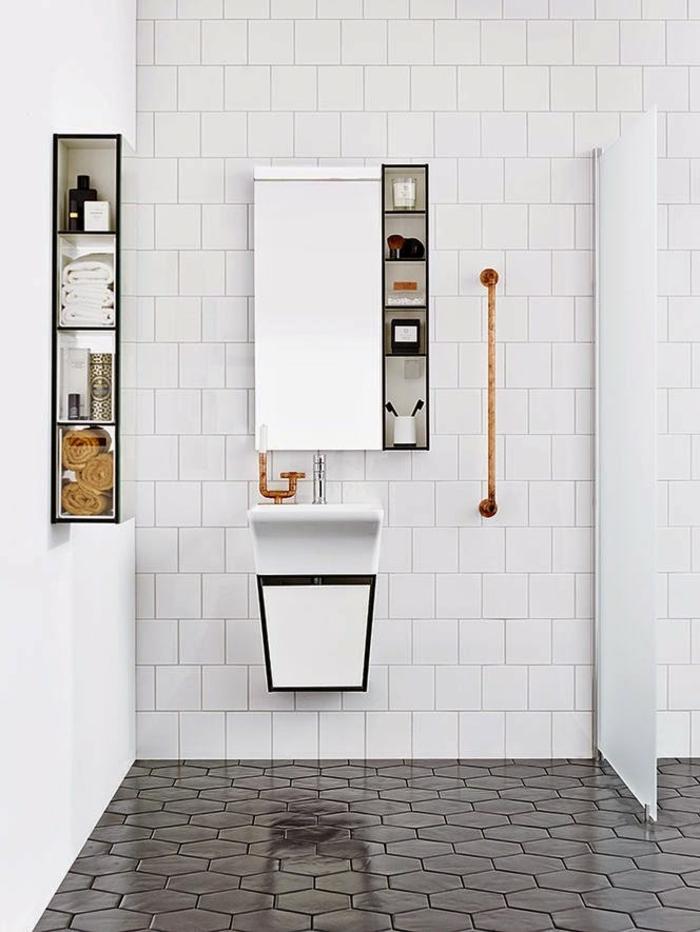 évier-céramique-salle-de-bains-unique-carreaux-hexagonaux-et-petit-lavabo-blanc