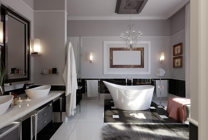 évier-céramique-tapis-chandelier-baroque-intérieur-glamour-double-vasque