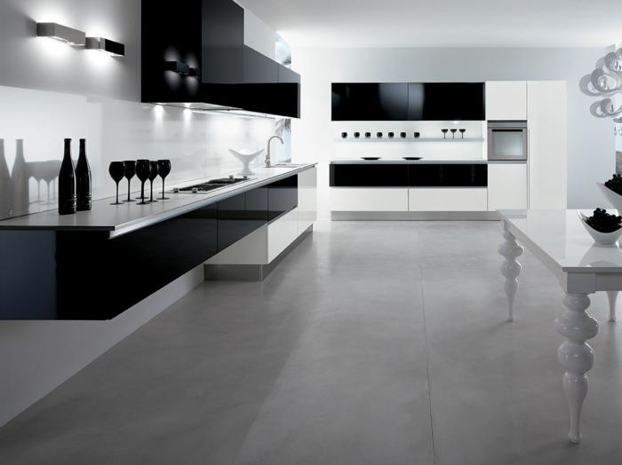 Beautiful Cuisine Blanche Sol Noir #1: 0-cuisine-laquée-noire-pas-cher-sol-en-carrelage-gris-plafond-blanc-meubles-blanc-noir.jpg