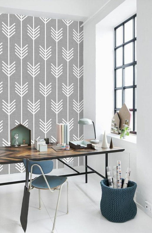 le papier peint g om trique en 50 photos avec id s. Black Bedroom Furniture Sets. Home Design Ideas