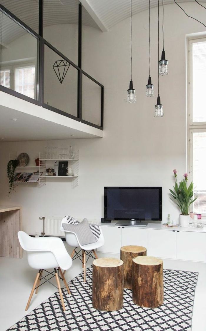 1-comment-décorer-son-salon-tapis-beige-noir-et-murs-blancs-meubles-blancs