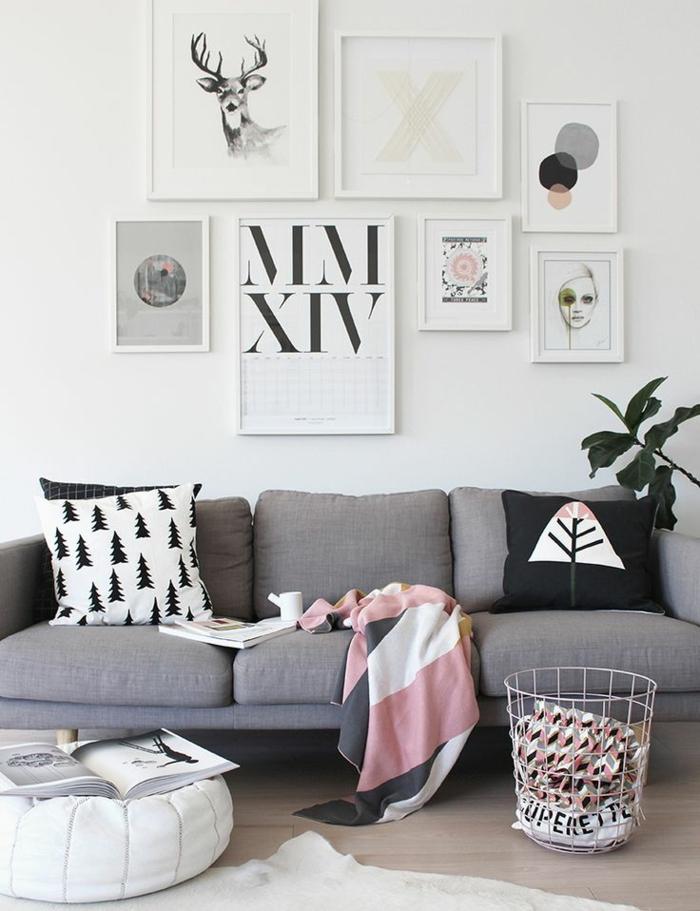 coussins-design-salon-ou-chambre-à-coucher-canapé-gris-panneaux-hipster