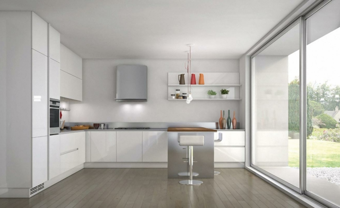 53 variantes pour les cuisines blanches for Kitchen colors with white cabinets with porte papiers femme