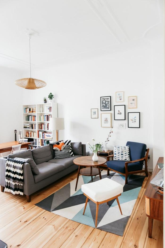 1-deco-nordique-avec-meuble-suedois-et-tapis-scandinave-canapé-gris-et-chaise-bleue-meubles-en-bois