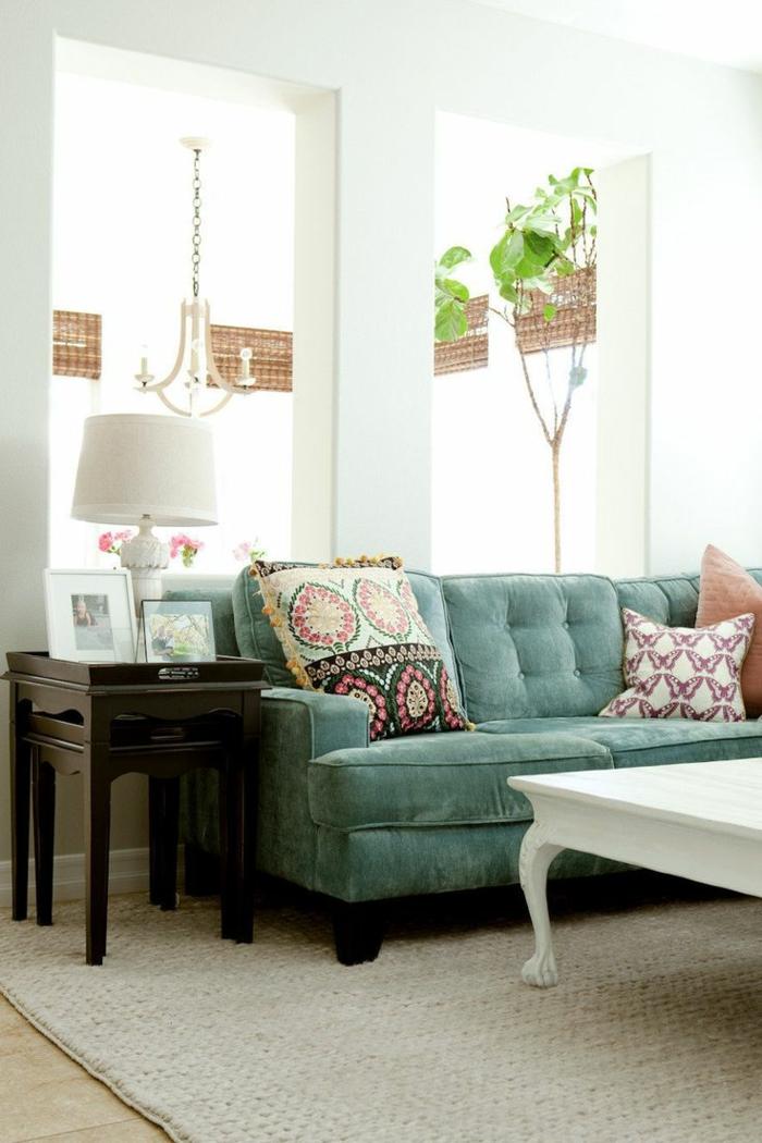 1-idee-deco-sejour-canapé-bleu-dans-la-salle-de-séjour-avec-coussins-de-canapés-et-plantes-vertes
