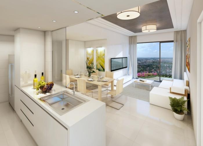 1-intérieur-blanc-avec-meuble-blanc-cuisines-blanches-tapis-gris-et-table-basse-de-salon