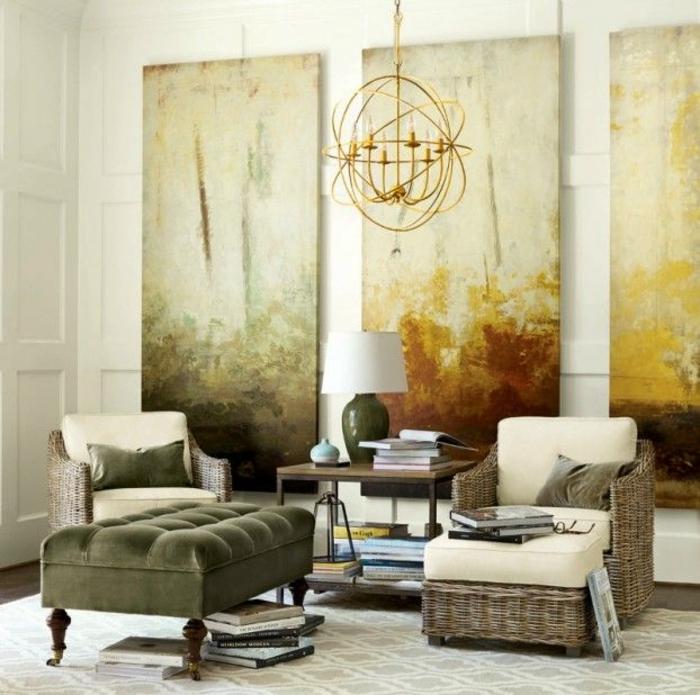 Design d 39 int rieur styl avec le tableau triptyque - Salon beige et blanc ...