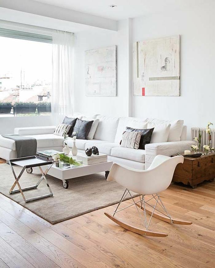 1-intérieurs-scandinaves-avec-meuble-norvegien-avec-tapis-en-rotin-beige-chaise-blanche