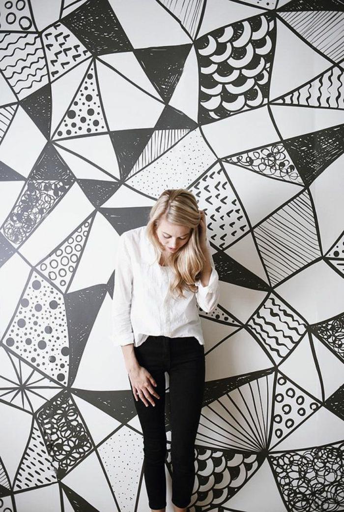 papier peint geometrique triangles noir et blanc gris solutions pour la d coration int rieure. Black Bedroom Furniture Sets. Home Design Ideas