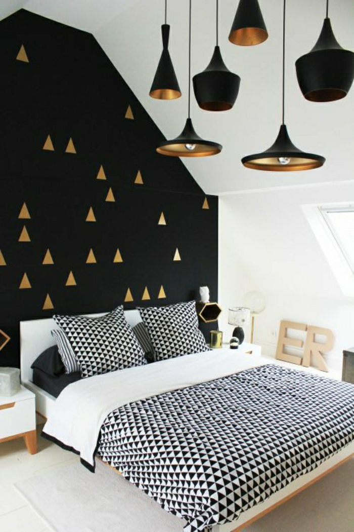 le papier peint g om trique en 50 photos avec id s. Black Bedroom Furniture Sets. Home Design Ideas