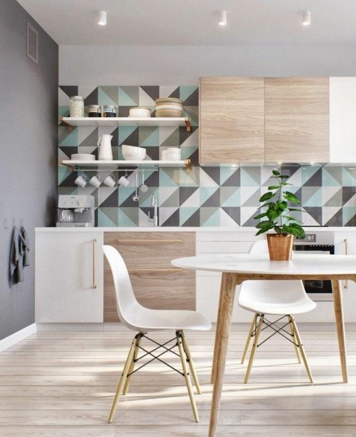 1-jolie-cuisine-scandinave-avec-papier-peint-géométrique-dans-la-salle-à-manger