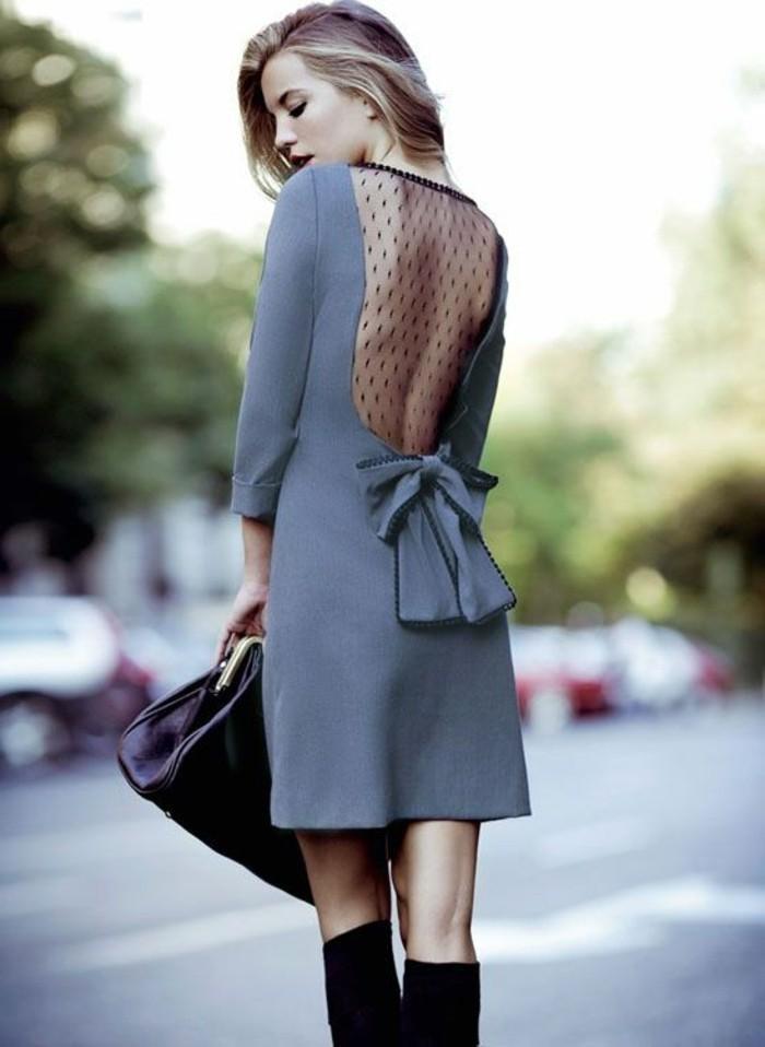 1-jolie-robe-cocktail-court-pas-cher-gris-avec-dos-dentelle-noir-cheveux-blonds