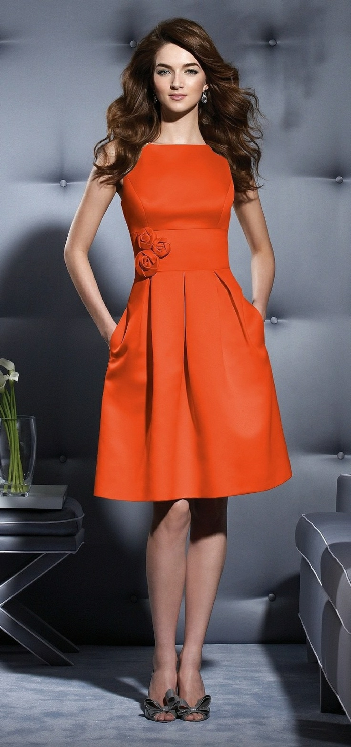 Robe de soiree courte orange