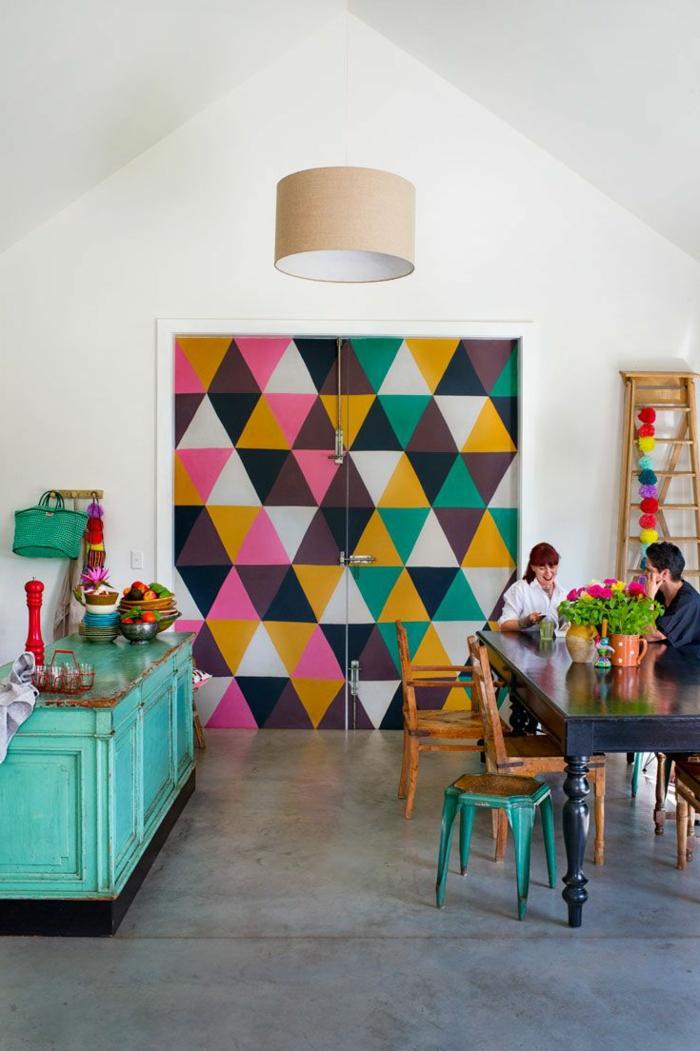 1-jolie-tapisserie-leroy-merlin-geometrique-colorée-pour-la-salle-a-manger-moderne