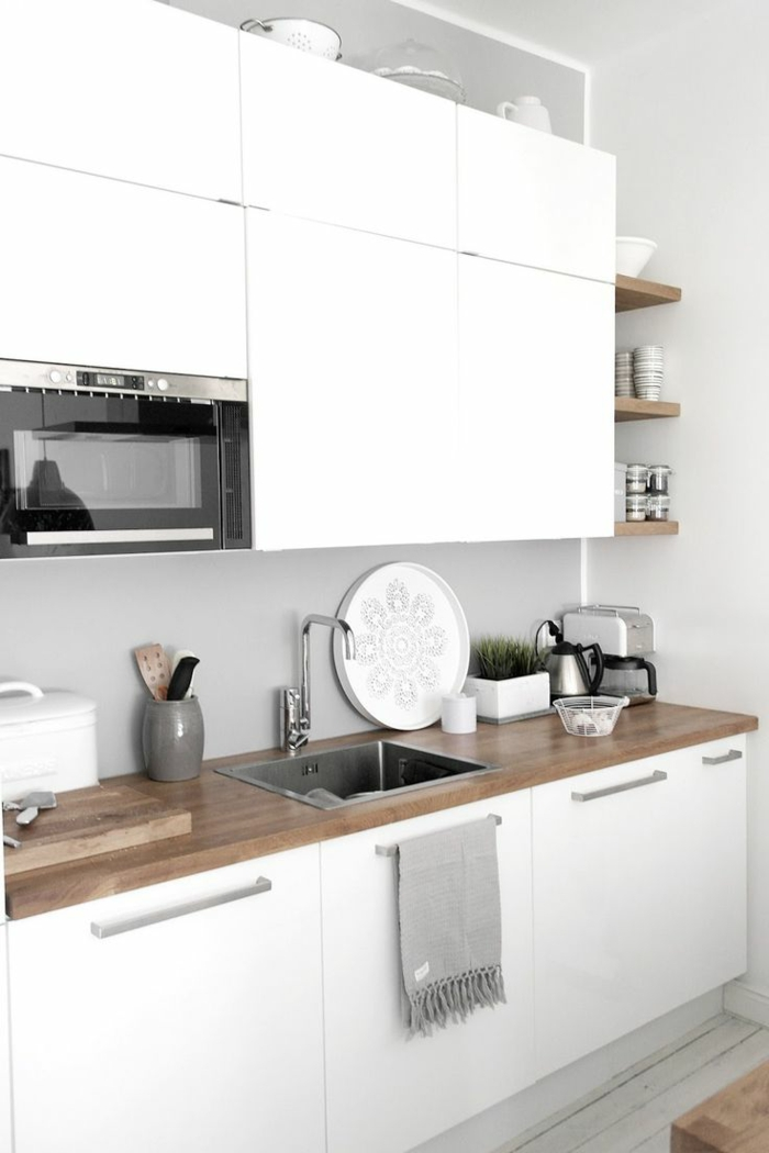 latest cuisine blanche bois et inox photo ueue cuisine ikea blanche et bois with credence ikea inox. Black Bedroom Furniture Sets. Home Design Ideas