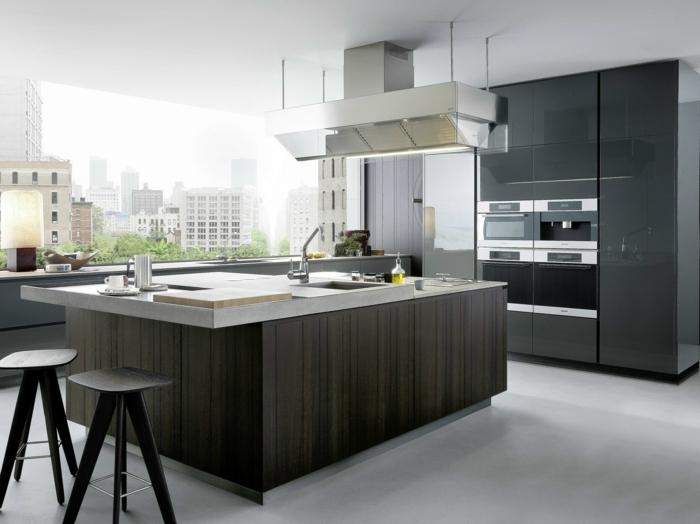Cuisine Design En Bois :  cuisinegrislaquésplafondblancfenetregrandemeublesdecuisine