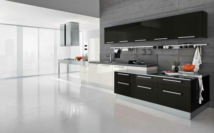 1-meubles-cuisines-laqués-noirs-blancs-sol-en-béton-citré-murs-gris-mur-blanc