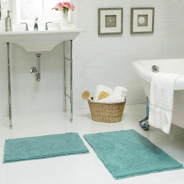 On vous pr sente le tapis de salle de bain en 45 images for Salle de bain beige et blanc