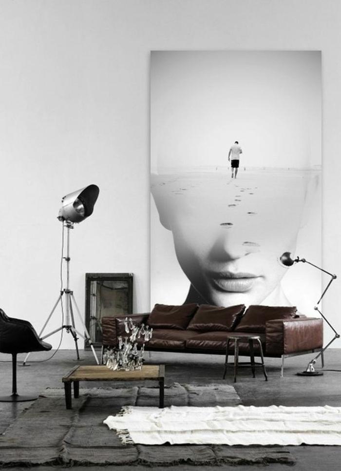 11-faire-revivre-vos-murs-dans-le-salon-tapis-blanc-canapé-marron-en-cuir