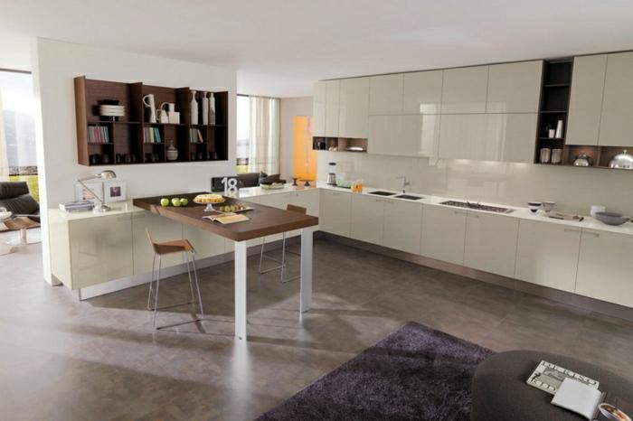 2-jolie-cuisine-laquéе-blanche-carrelage-marron-tapis-violet-plafond-blanc-meubles-de-cuisine-blanches