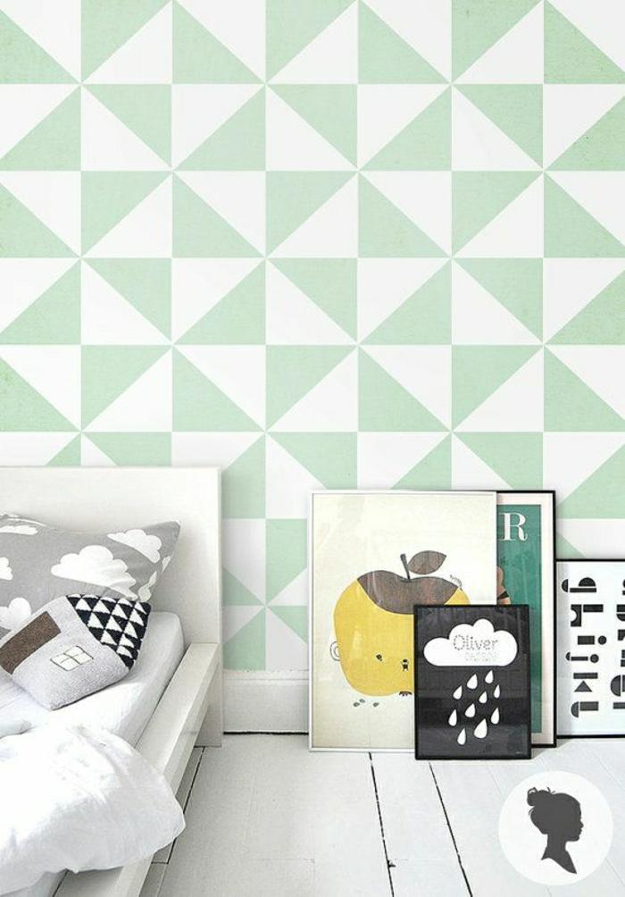 Le papier peint g om trique en 50 photos avec id s - Tapisserie moderne pour chambre ...