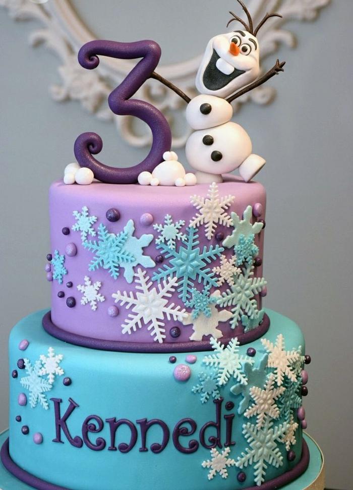 3-anniversaire-gâteau-la-reine-des-neiges-anna-elsa-olaf-gateaux-reine-des-neiges-en-violet