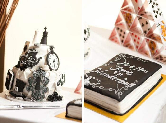 Alice-au-pays-des-merveilles-Disney-déco-mariage-de-princesse-couple-heureuse-le-gâteau