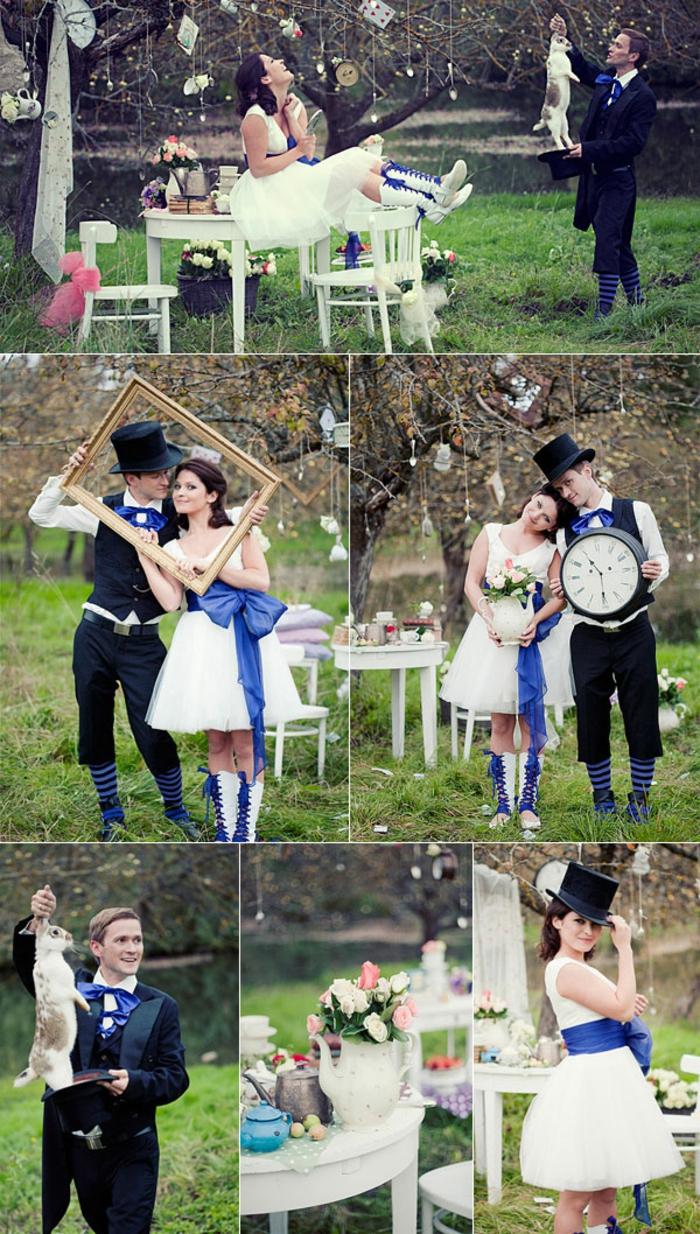 Alice-au-pays-des-merveilles-Disney-déco-mariage-de-princesse-couple-heureuse-photos-mariage