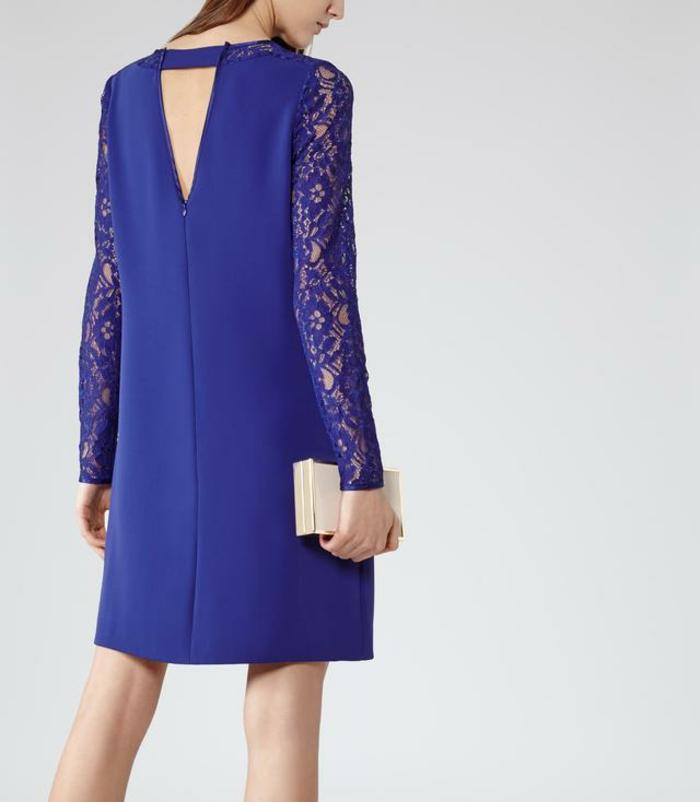 Des-robes-droites-fluides-tenue-de-jour-robe-femme-élégante-bleue-dentelle-dos-nue