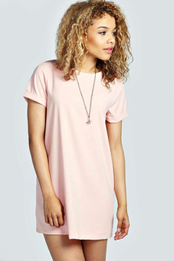 Des-robes-droites-fluides-tenue-de-jour-robe-femme-élégante-robe-rose-pale